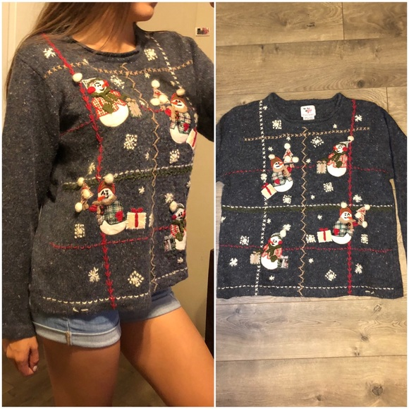 Urban Outfitters Ugly Christmas Sweater.Ugly Christmas Sweater Snowman